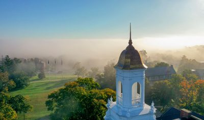 UConn Storrs campus on a foggy morning.