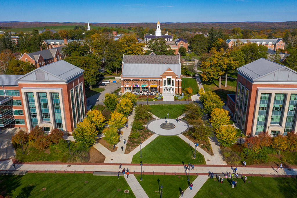 Drone view of UConn Storrs campus